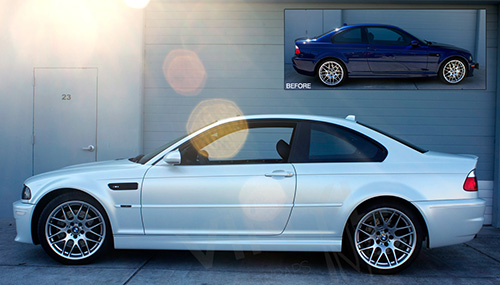 Vinyl wrap paint replacement color changing film. Full color change car wrap on BMW M3 from Blue to Satin White Wraps