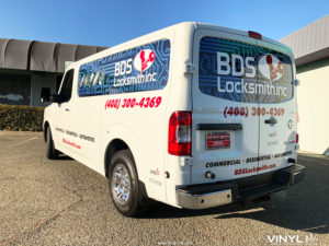 Graphic Decals and Cut Vinyl for BDS Locksmith's Cargo Van