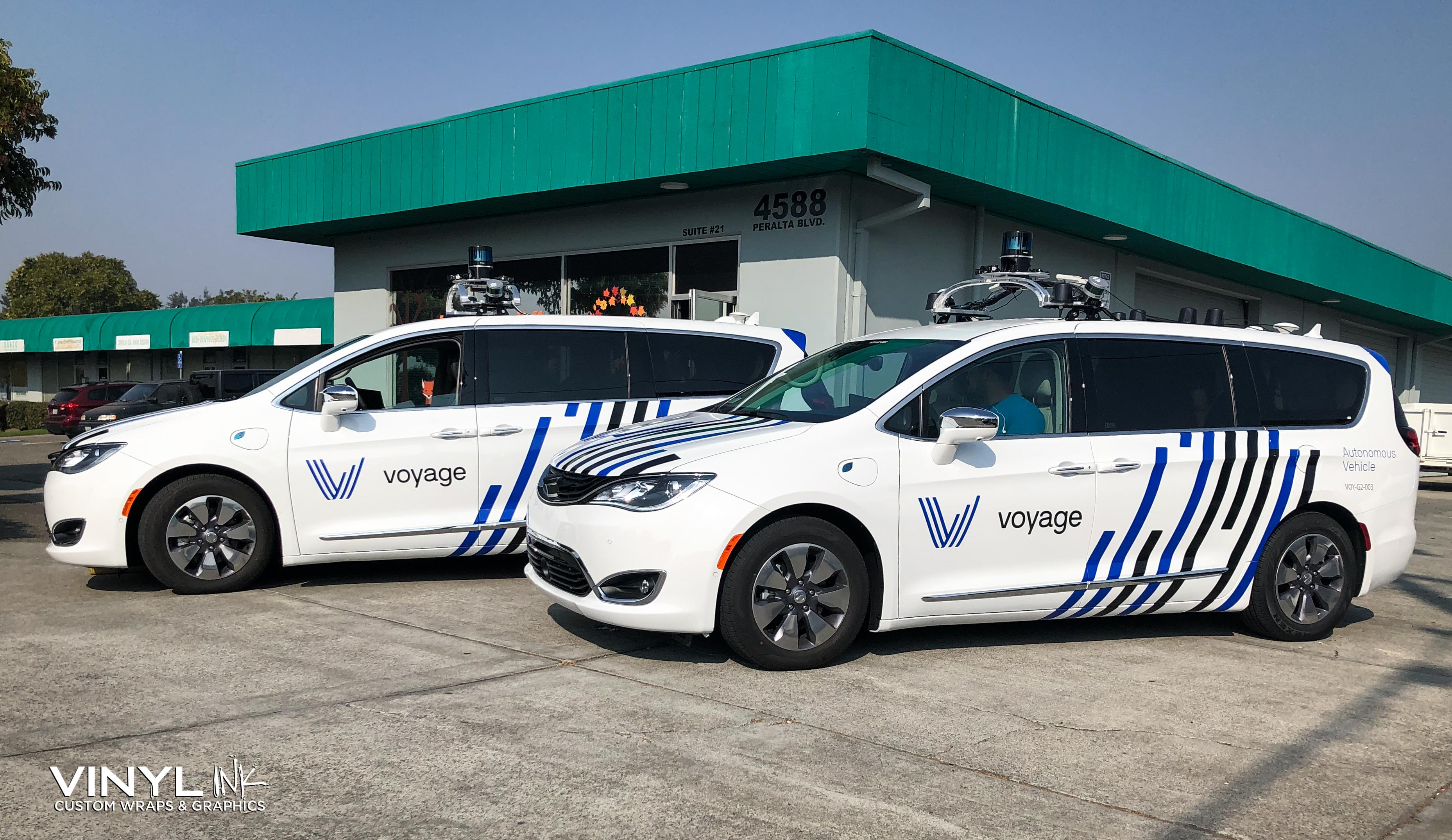 Custom Graphic Decals Installed to two Autonomous Vans.