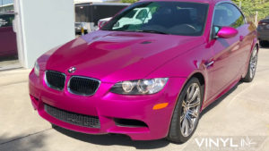 BMW wrapped in 3M Gloss Fierce Fuchsia